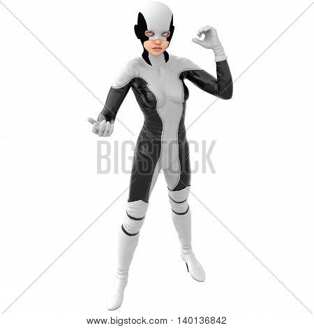 one teenage girl in a white dark super suit. A girl stands in a level position. The right hand close to the face. The left hand half bent. The view from the top. 3D rendering, 3D illustration