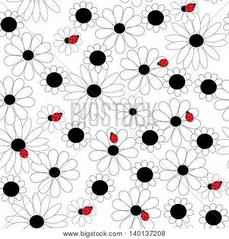 Graphically Flower Seamless Background With Ladybirds