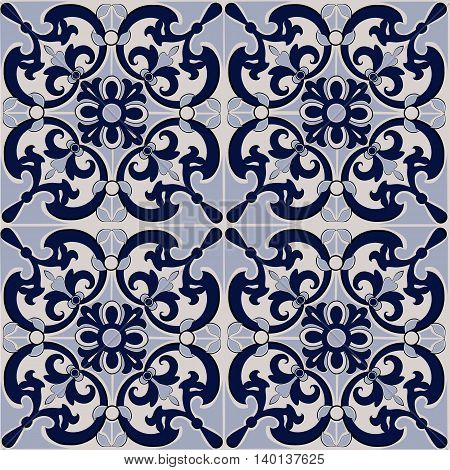 Ornamental pattern seamless vector dark blue and light  blue color. Can be used for wallpaper, pattern fills, web  page background,surface textures.