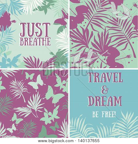 set of vector tropical illustrations: backgrounds and frames, jungle decoration