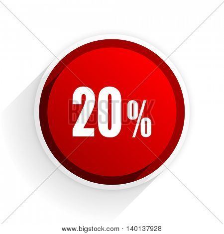 20 percent flat icon with shadow on white background, red modern design web element