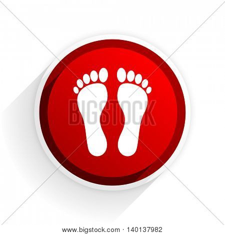 foot flat icon with shadow on white background, red modern design web element