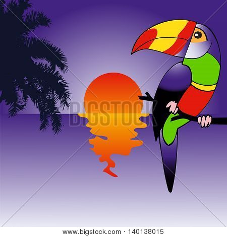 Background with brightly colored parrot bird sitting on the branch on the beach. Tropical vector illustration
