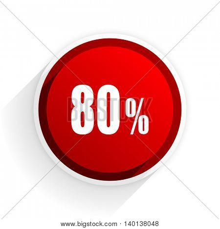 80 percent flat icon with shadow on white background, red modern design web element