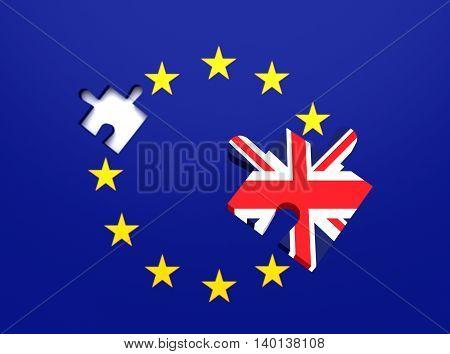 Missing puzzle piece: Great Britain leaving the EU 3d illustration