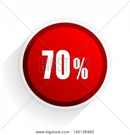 70 percent flat icon with shadow on white background, red modern design web element