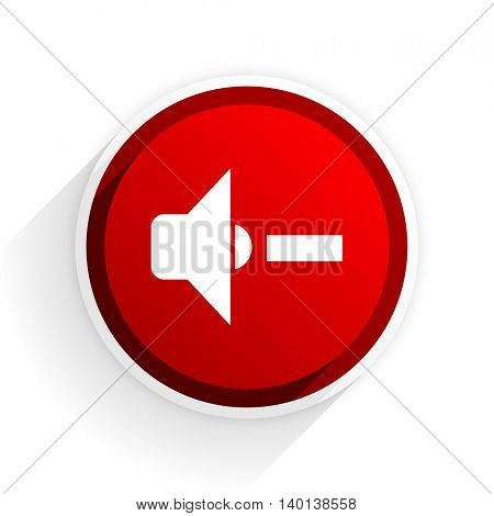 speaker volume flat icon with shadow on white background, red modern design web element