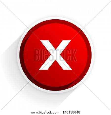 cancel flat icon with shadow on white background, red modern design web element