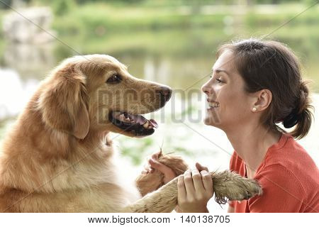 Complicity between woman and dog