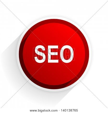 seo flat icon with shadow on white background, red modern design web element