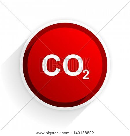 carbon dioxide flat icon with shadow on white background, red modern design web element