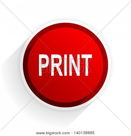 print flat icon with shadow on white background, red modern design web element