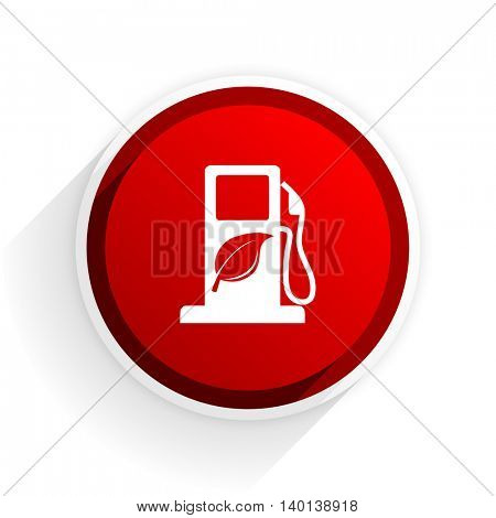 biofuel flat icon with shadow on white background, red modern design web element
