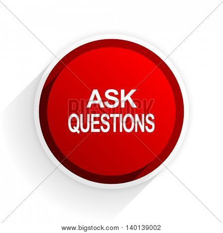 ask questions flat icon with shadow on white background, red modern design web element