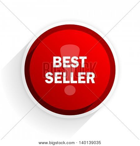 best seller flat icon with shadow on white background, red modern design web element