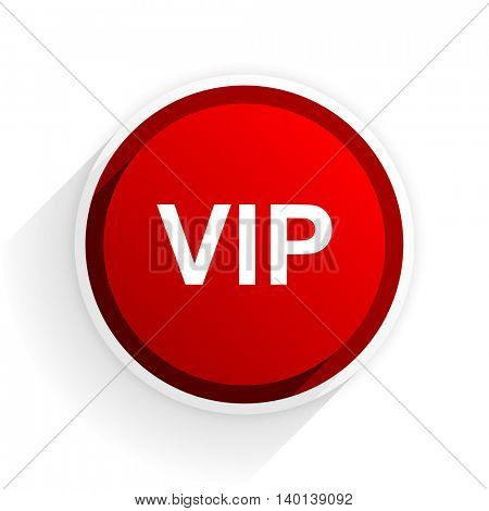 vip flat icon with shadow on white background, red modern design web element