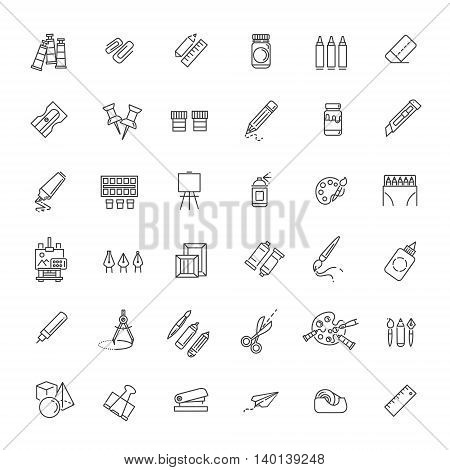 Drawing tools icon set, thin line style, flat design