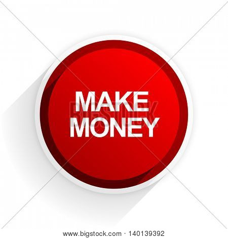make money flat icon with shadow on white background, red modern design web element