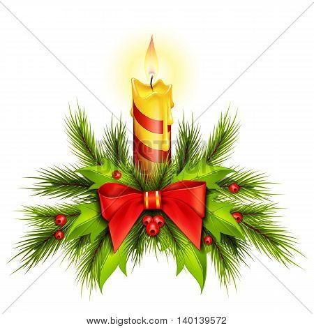 Burning Christmas candle decorated with fir sprigs and mistletoe leaves. Decoration, holiday, celebration. Holiday concept. Can be used for greeting cards, posters, leaflets