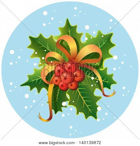 Christmas and New Year vector holly decoration with mistletoe leaves and berries on light blue circle background. Can be used for greeting cards and posters