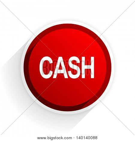 cash flat icon with shadow on white background, red modern design web element