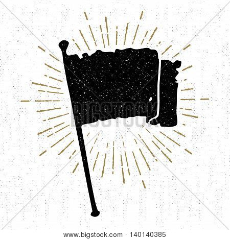 Hand drawn vintage icon with a textured flag vector illustration.
