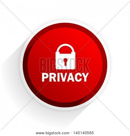 privacy flat icon with shadow on white background, red modern design web element
