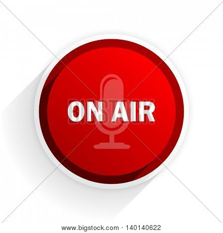 on air flat icon with shadow on white background, red modern design web element