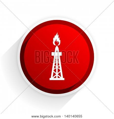 gas flat icon with shadow on white background, red modern design web element