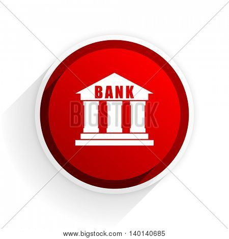 bank flat icon with shadow on white background, red modern design web element