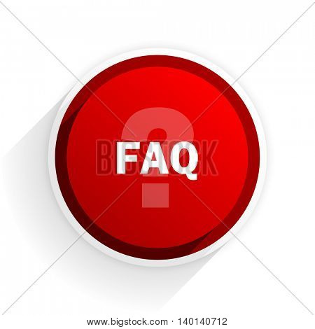 faq flat icon with shadow on white background, red modern design web element