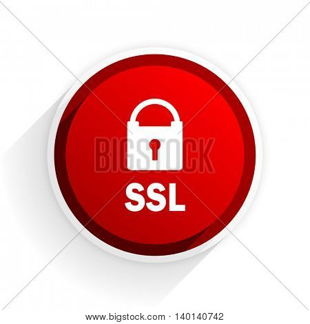 ssl flat icon with shadow on white background, red modern design web element