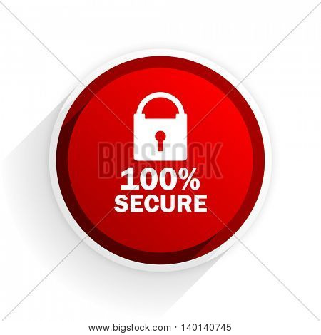 secure flat icon with shadow on white background, red modern design web element