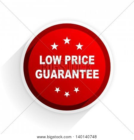 low price guarantee flat icon with shadow on white background, red modern design web element