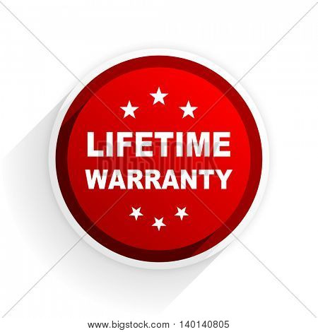lifetime warranty flat icon with shadow on white background, red modern design web element