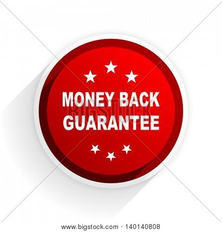 money back guarantee flat icon with shadow on white background, red modern design web element