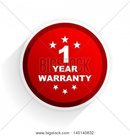 warranty guarantee 1 year flat icon with shadow on white background, red modern design web element