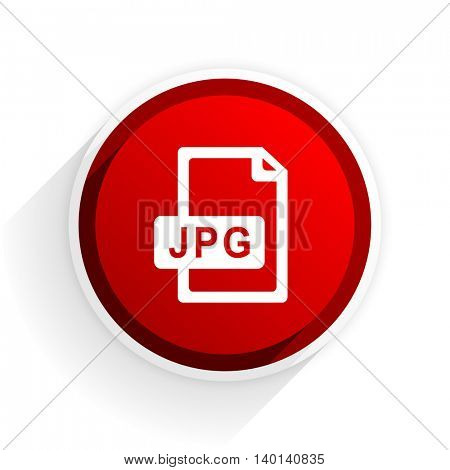 jpg file flat icon with shadow on white background, red modern design web element