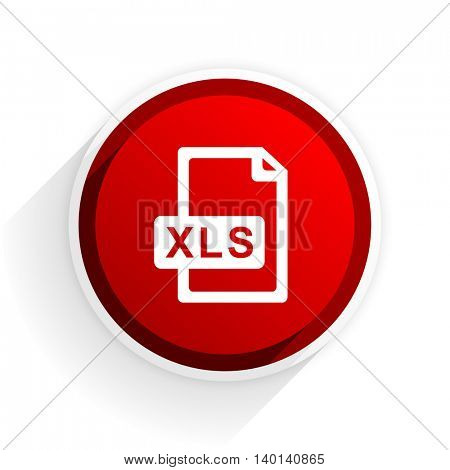 xls file flat icon with shadow on white background, red modern design web element