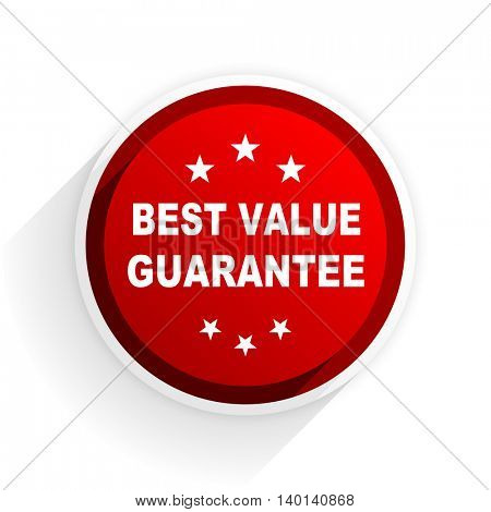 best value guarantee flat icon with shadow on white background, red modern design web element
