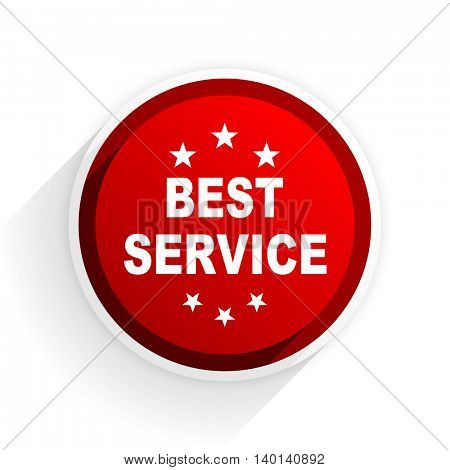 best service flat icon with shadow on white background, red modern design web element