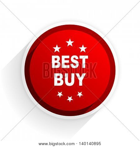 best buy flat icon with shadow on white background, red modern design web element