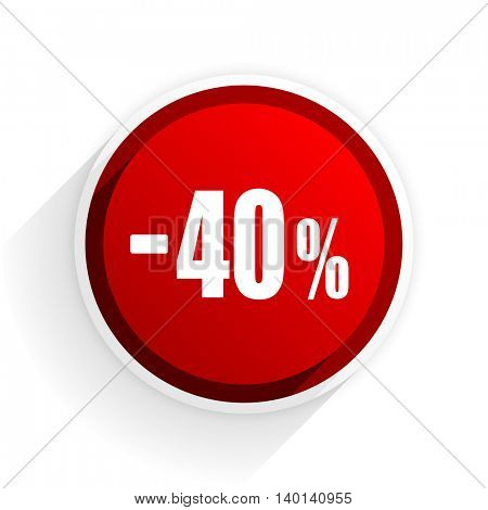 40 percent sale retail flat icon with shadow on white background, red modern design web element