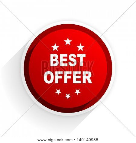 best offer flat icon with shadow on white background, red modern design web element