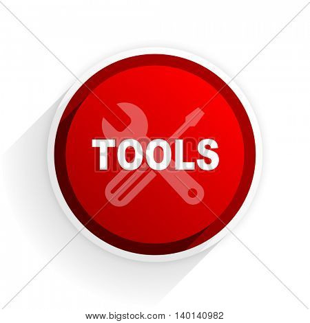 tools flat icon with shadow on white background, red modern design web element