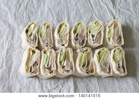 roll with fish  bread , roll, snack, food, fish, cucumber, dinner, sandwich