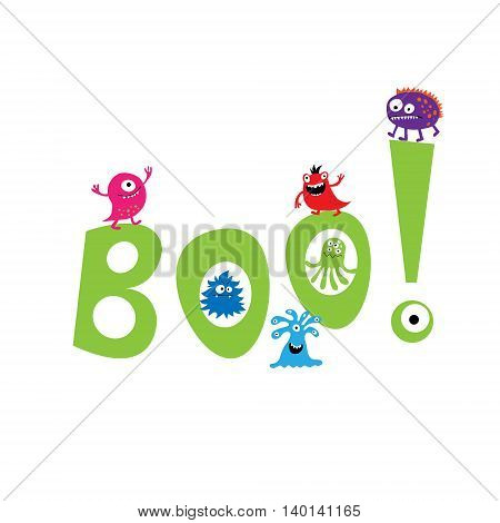 Monsters On The Background Of The Word Boo