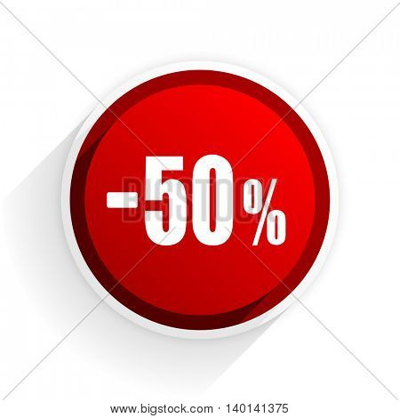 50 percent sale retail flat icon with shadow on white background, red modern design web element