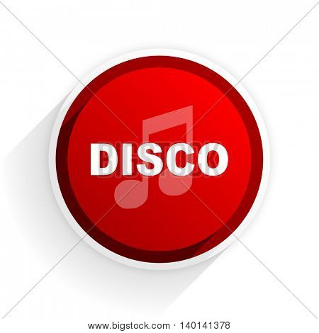 disco music flat icon with shadow on white background, red modern design web element