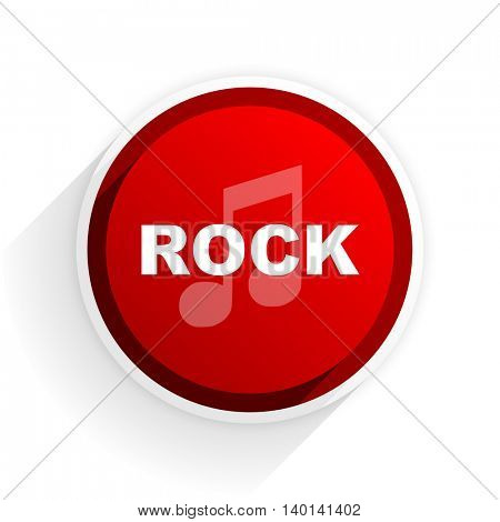 rock music flat icon with shadow on white background, red modern design web element